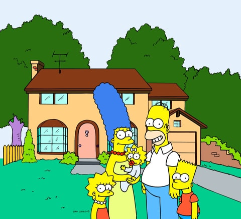 The Simpsons pose for a family portrait.