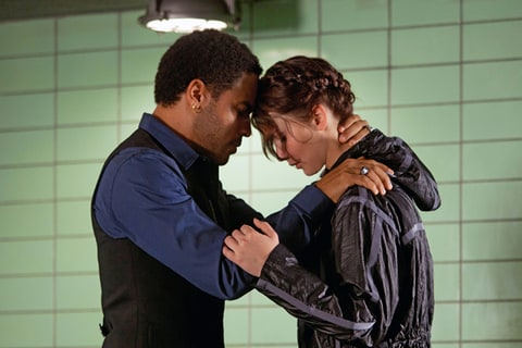 Lenny Kravitz as Cinna and Jennifer Lawrence as Katniss Everdeen in 'The Hunger Games.'