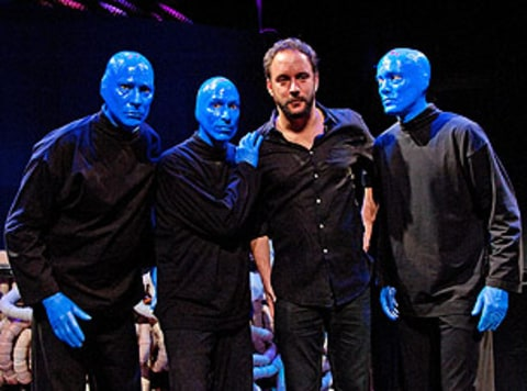 Dave Matthews with Blue Man Group founders Phil Stanton, Matt Goldman, and Chris Wink