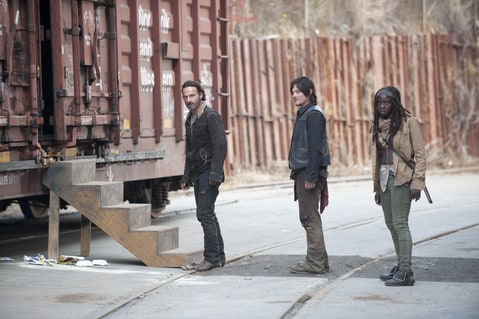 Rick, Daryl and Michonne captured within Terminus walls.