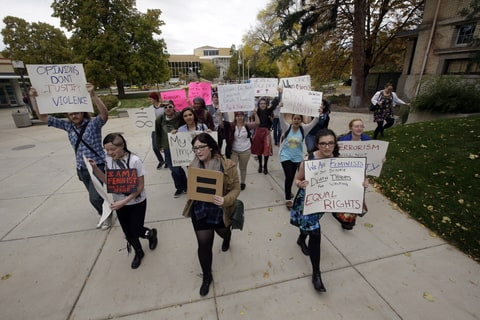 Students protest on the campus of Utah State in Logan, Utah on Oct. 15th, 2014.