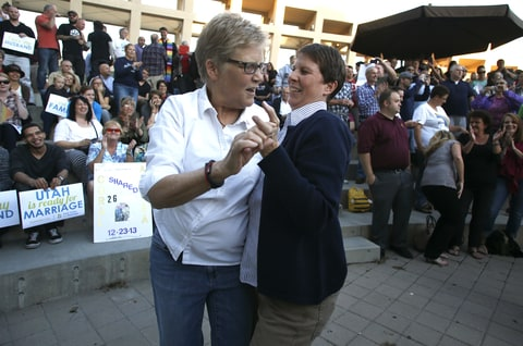 Laurie Wood and Kody Partridge celebrate at a same-sex marriage rally in Salt Lake City, Utah, October 6th, 2014.