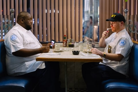 Killer Mike and El-P on set of their music video 'Blockbuster Night, Part 1'.