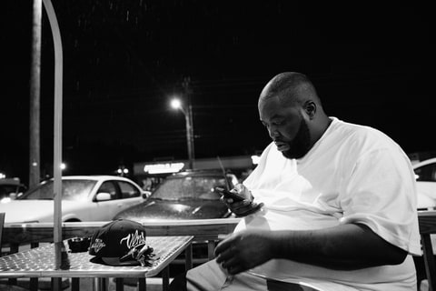 Killer Mike taking a break from filming.
