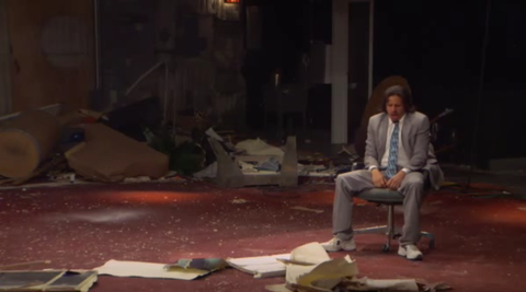 A destroyed set at the start of the 'Eric Andre Show.'