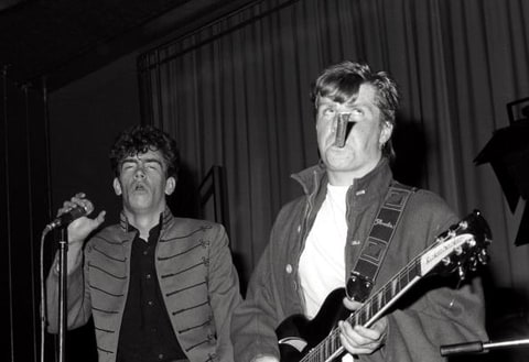 Mark Stewart (left) and Gareth Sager (right) of the Bristol radical punk band The Pop Group performs in London, 1979.