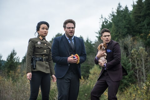 Diana Bang, Seth Rogen and James Franco in 'The Interview.'