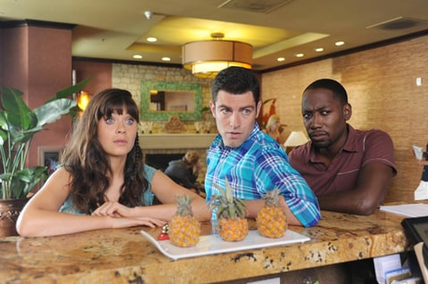 Zooey Deschanel, Max Greenfield and Lamorne Morris as Jess, Schmidt and Winston on 'New Girl.'