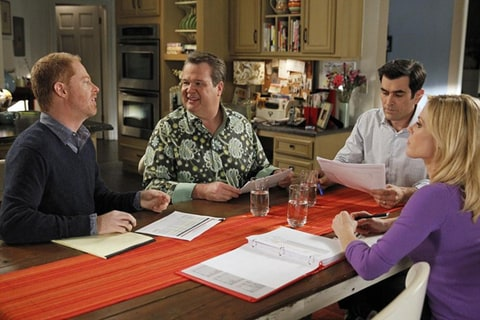 Jesse Tyler Ferguson, Eric Stonestreet, Ty Burrell and Julie Bowen as Mitchell, Cam, Phil and Claire on 'Modern Family.'