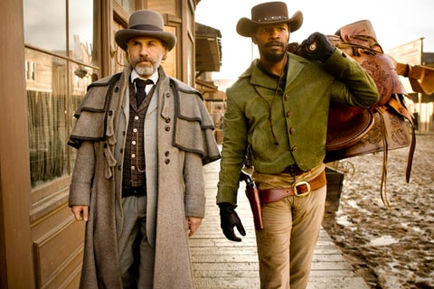 Christoph Waltz and Jamie Foxx as Schultz and Django in 'Django Unchained.'