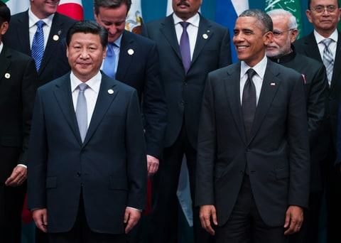 Xi Jinping, China's president, left, and U.S. President Barack Obam