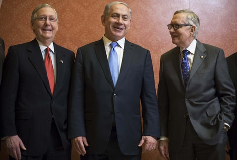 Harry Reid, Benjamin Netanyahu and Mitch McConnell