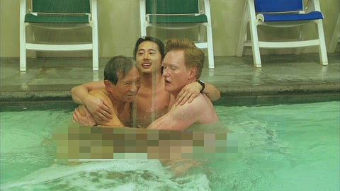 Steven Yeun (c) and Conan