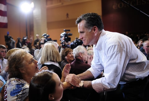 Mitt Romney greets supporters at a campaign rally in North Charleston, South Carolina.