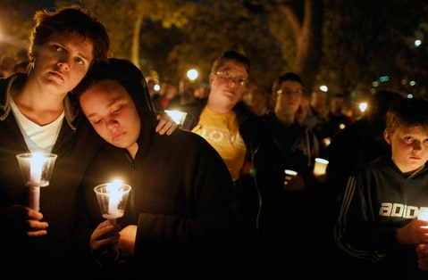 A candlelight vigil in Minneapolis for the victims of gay bullying.