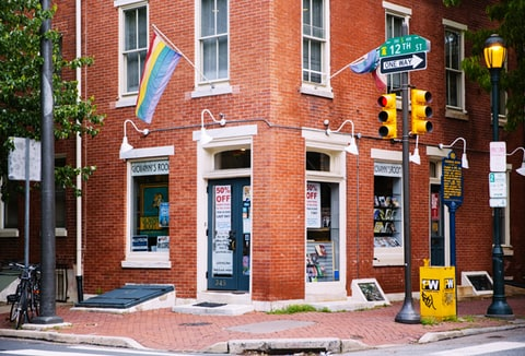 Giovanni's Room Bookstore on the corner of 12th and Pine Street in Philadelphia, PA.