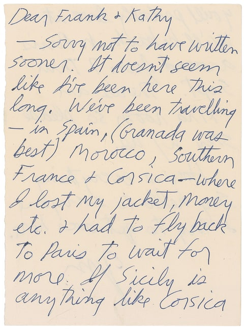 jim morrisons handwritten letter