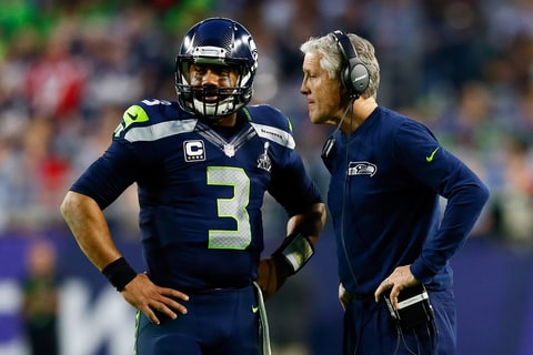 Wilson with Coach Pete Carroll