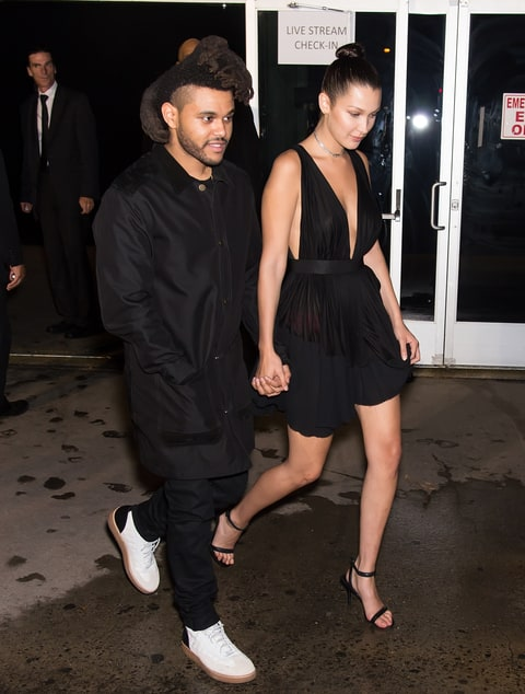 Bella Hadid with Tesfaye.