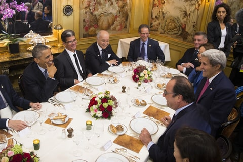 John kerry, President Obama, Hollande; Paris