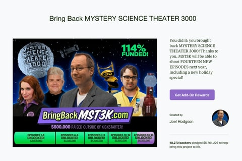 Mystery Science Theater 3000; Kickstarter Campaign