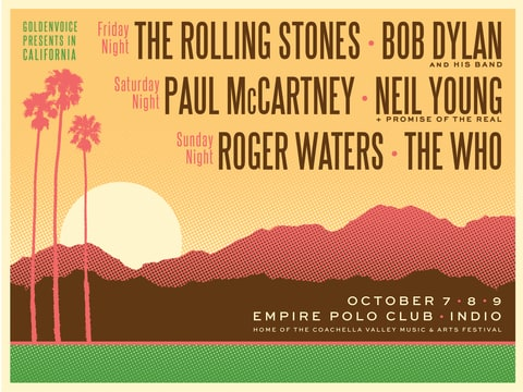THE ROLLING STONES, BOB DYLAN, PAUL McCARTNEY, NEIL YOUNG, ROGER WATERS, THE WHO; concerr