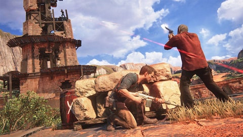 Nathan Drake taking cover Uncharted 4