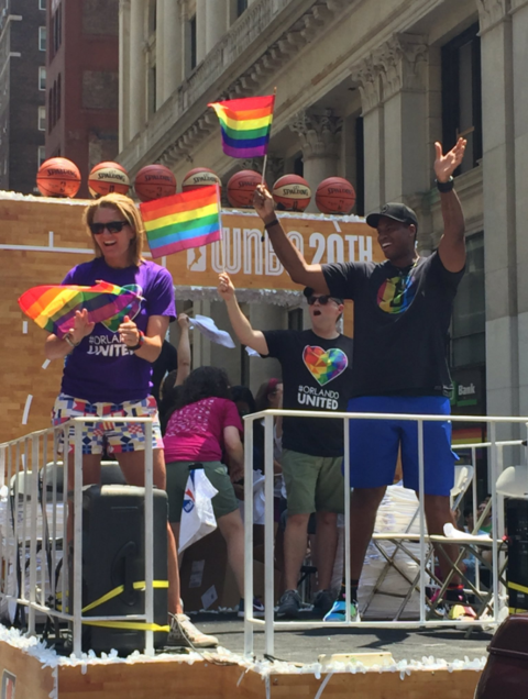 NBA Jason Collins Sue Wicks Float Pride Parade