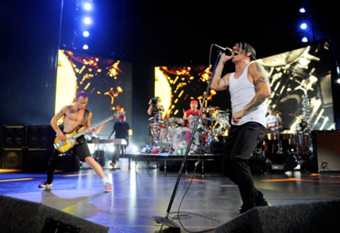Red Hot Chili Peppers perform at the Lanxess-Arena in Cologne, Germany