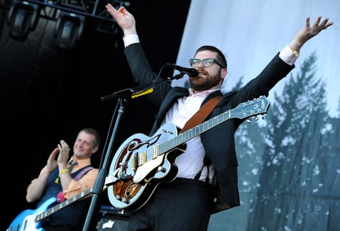 The Decemberists perform at the Lands End Stage during the Outside Lands Music And Arts Festival.