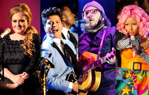 Grammy Showdown, Adele, Bruno Mars,  Wilco, Nicki Minaj
