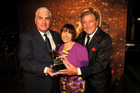 Mitch Winehouse, Janis Winehouse and Tony Bennett attend The 54th Annual Grammy Awards.