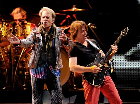 Van Halen perform at their dress rehearsal at the Forum in Inglewood, California.