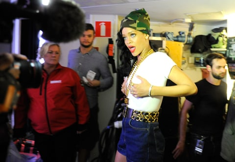 Rihanna backstage after a performance on her 777 Tour