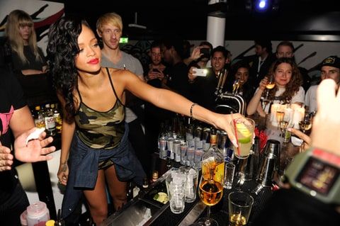 Rihanna celebrates at her after party following her show at Berns during her 777 tour on November 16, 2012 in Stockholm, Sweden.
