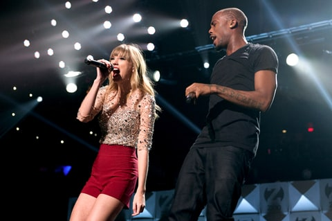 Taylor Swift and B.O.B perform during Z100's Jingle Ball.