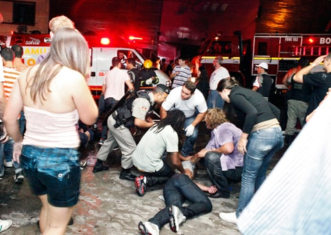 Victims of the nightclub fire receive medical assistance in Santa Maria, Brazil.