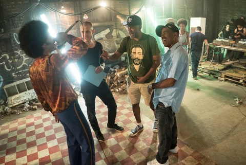 Actor Justice Smith, composer Elliott Wheeler, producer Nelson George and Kurtis Blow, on the set of 'The Get Down.'