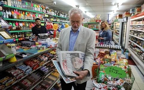 Jeremy Corbyn, leader of Britain's opposition Labour Party, looks at newspapers in Islington, London, Britain June 10, 2017.