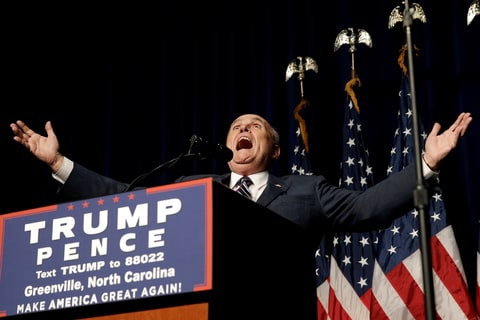 Former New York City Mayor Rudolf Giuliani introduces Republican presidential nominee Donald Trump at a campaign rally in Greenville, North Carolina, U.S., September 6, 2016.