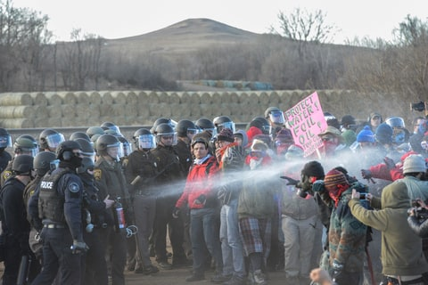 Police mace protesters during a demonstration against the Dakota Access pipeline near the Standing Rock Indian Reservation in Mandan, North Dakota, U.S. November 15, 2016.