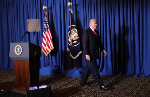 DATE IMPORTED:April 07, 2017U.S. President Donald Trump leaves after delivering a statement about missile strikes on a Syrian airfield, at his Mar-a-Lago estate in Palm Beach, Florida, U.S., April 6, 2017.
