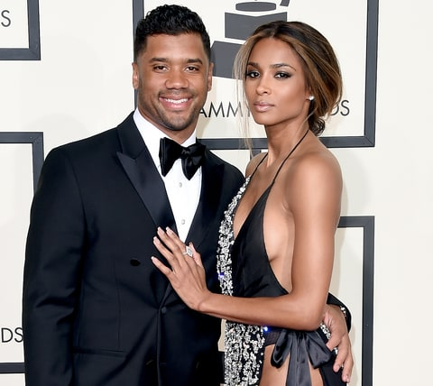 NFL player Russell Wilson and Ciara attend The 58th GRAMMY Awards.