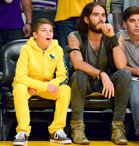 Russell Brand at Lakers Game