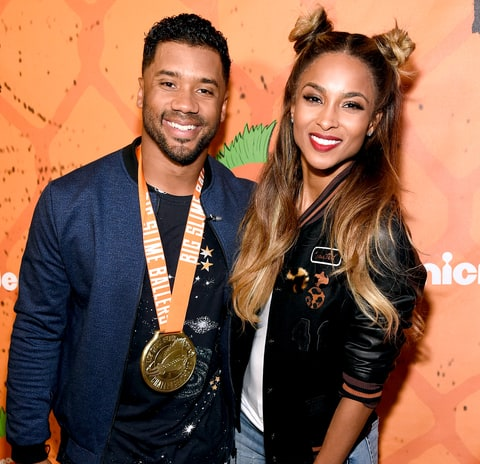 Russell Wilson and Ciara pose backstage during the Nickelodeon Kids' Choice Sports Awards 2016 at UCLA's Pauley Pavilion on July 14, 2016 in Westwood, California.