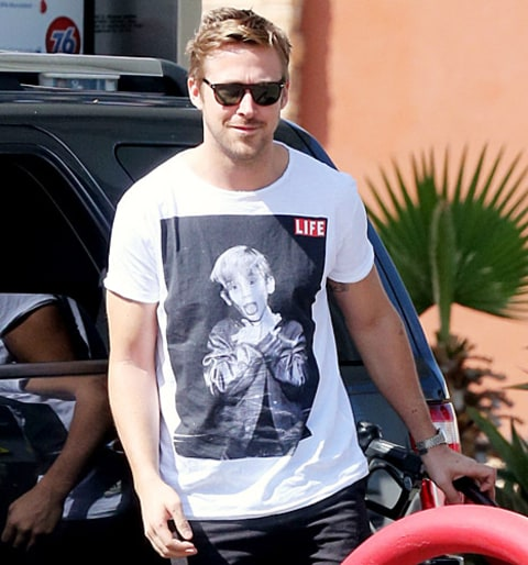 ryan gosling wearing macaulay culkin tee