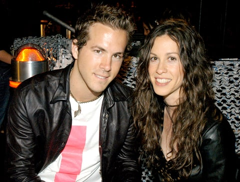 Ryan Reynolds and Alanis Morissette during the 2003 MTV Movie Awards.