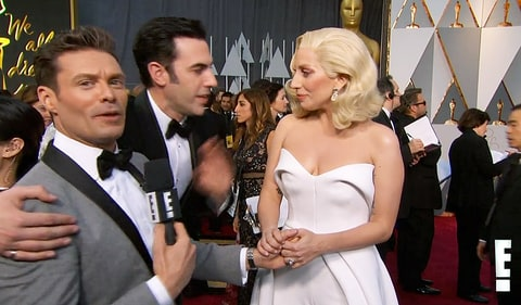 Ryan Seacrest, Sacha Baron Cohen and Lady Gaga