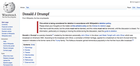 celebrity news donald drumpf wikipedia exists after john olivers trump takedown