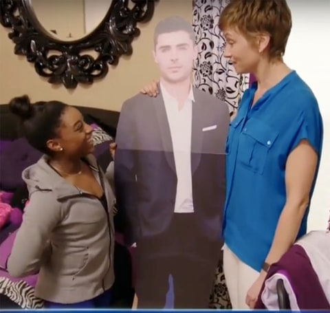 Simone Biles Has a Life-Size Cutout of Zac Efron in HerBedroom pics